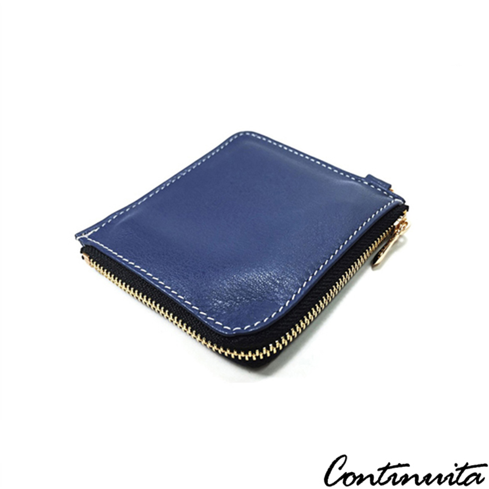 Continuita 康緹尼 MIT 手工真皮萬用 零錢包/卡包-藍色