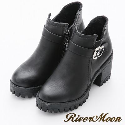 River&Moon率性皮帶扣造型厚底粗跟短靴-百搭黑