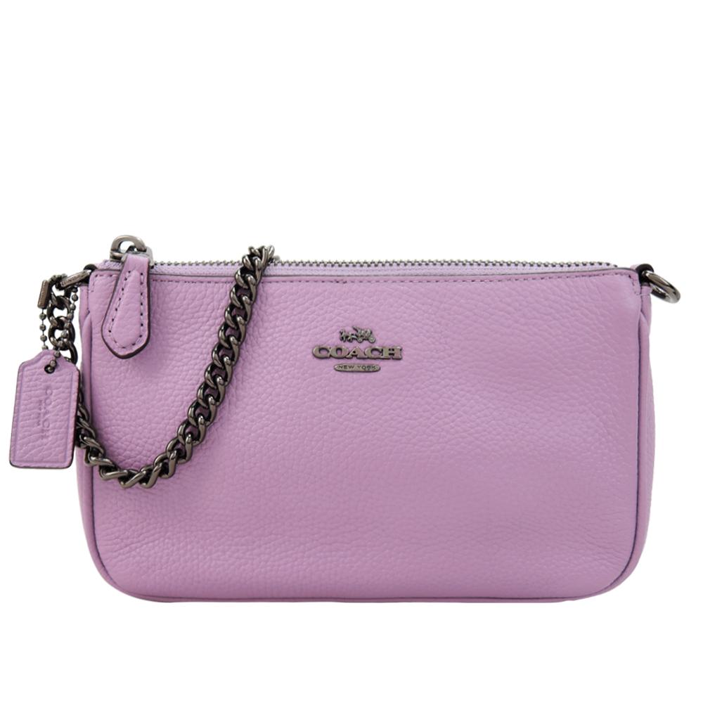COACH 專櫃款Nolita荔枝紋鍊帶迷你手提包(紫)COACH