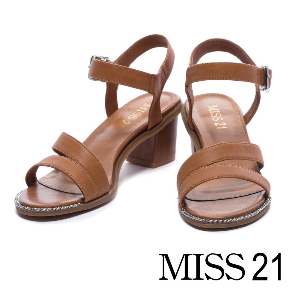 涼鞋 MISS 21 完美線條牛皮繫帶低跟涼鞋-咖