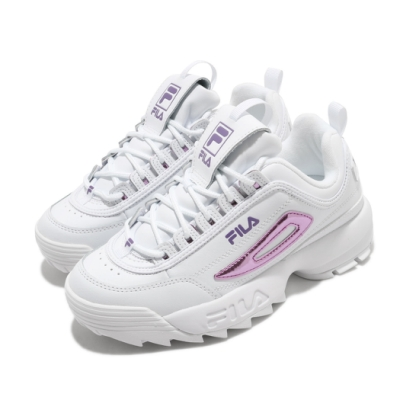 Fila 休閒鞋 Disruptor 2 運動 女鞋 厚底 舒適 簡約 球鞋 穿搭 增高 白 紫 5C608U153