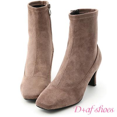 D+AF 時尚話題.素面絨料合腿中跟短靴*灰棕