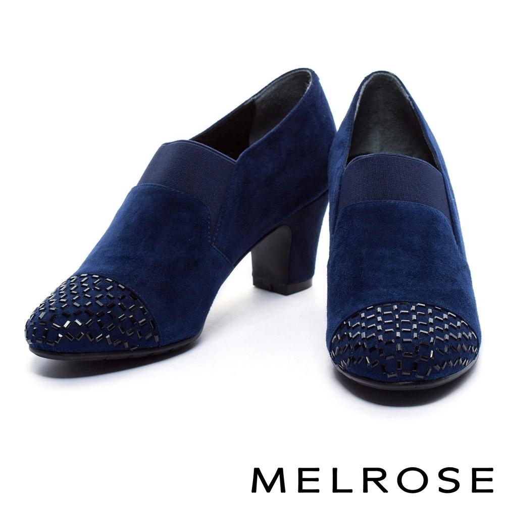 踝靴 MELROSE 內斂奢華感晶鑽羊麂皮高跟踝靴-藍