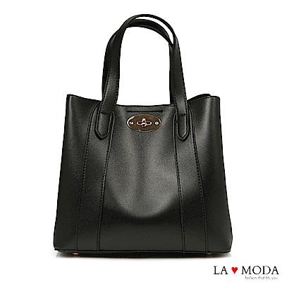 La Moda 精緻工藝大容量旋鈕釦飾設計肩背手提托特包(黑)