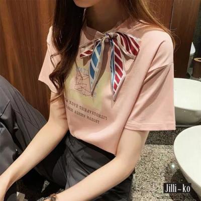 JILLI-KO 韓版蝴蝶結領口印花T恤- 粉紅/黑