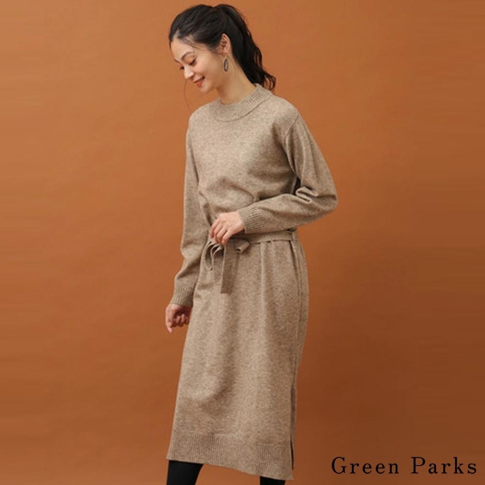 Green Parks 柔軟高領針織綁帶連身洋裝