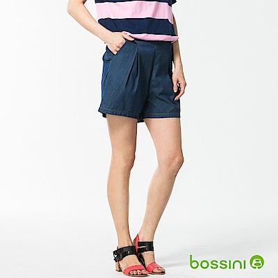 bossini女裝-休閒牛仔短褲靛藍