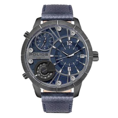 POLICE 星際追隨者三眼腕錶-藍(15662XSTU-03)