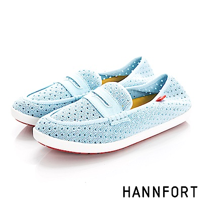HANNFORT CALIFORNIA編織帆船鞋-女-天空藍