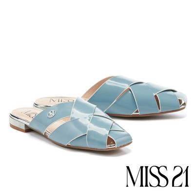 穆勒鞋 MISS 21 慵懶質感光澤開邊珠粗編織方頭低跟穆勒拖鞋-藍