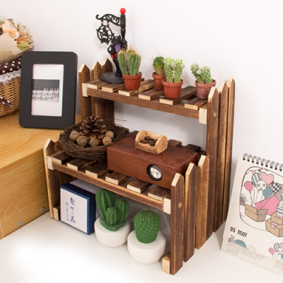 【Effect】天然木製桌上型階梯式多層花架(31*21*31cm)
