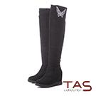 TAS蝴蝶結燙鑽3way絨布內增高膝上靴–經典黑