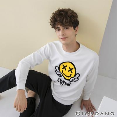 GIORDANO 男裝CHEER YOU ON大學T恤 - 02 皎白