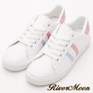 River&Moon休閒鞋- 亮眼活力螢光綁帶運動休閒鞋-粉彩