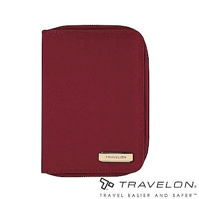 Travelon美國防盜包 RFID BLOCKING防盜拉鍊護照包TL1-43401紅