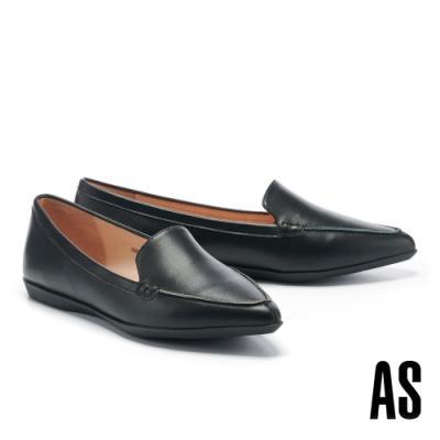 低跟鞋 AS 簡約時尚純色牛皮尖頭低跟鞋-黑