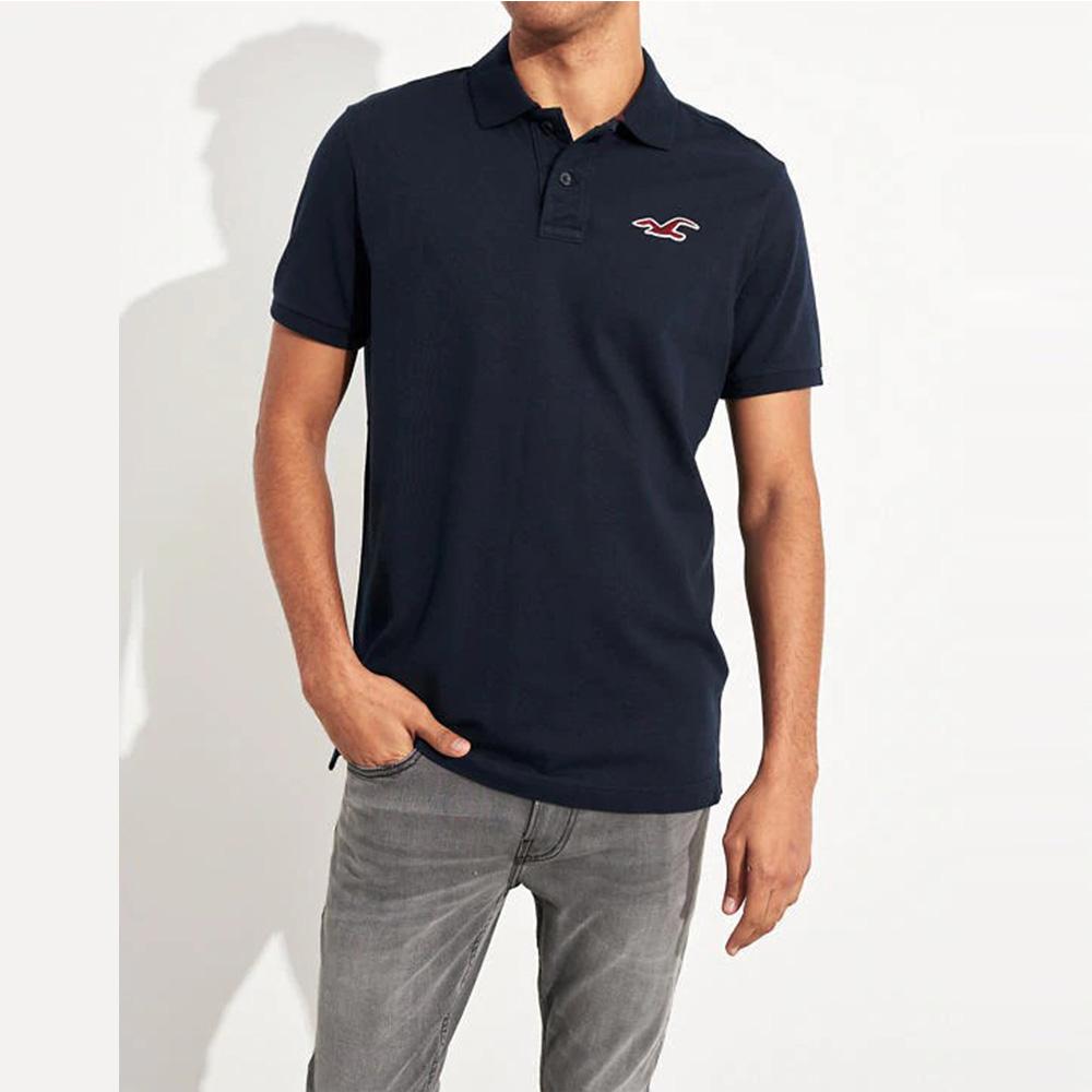 海鷗 Hollister HCO 限定款經典電繡大海鷗短袖Polo衫-深藍色