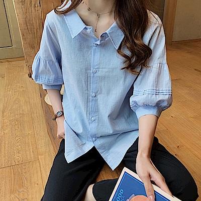 初色  燈籠袖寬鬆氣質襯衫-共3色-(L-3XL可選)