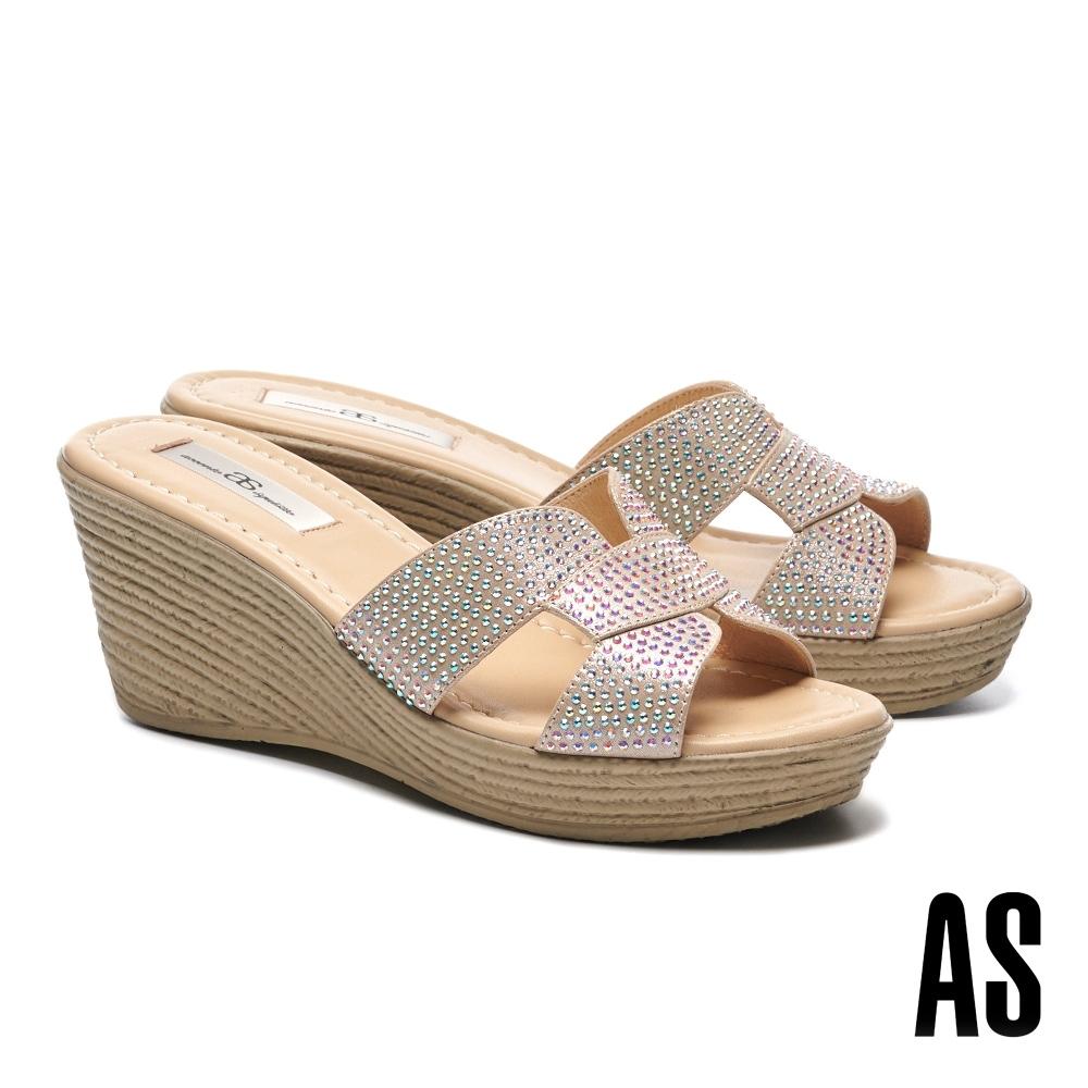 拖鞋 AS 閃爍耀眼晶鑽鏤空全真皮楔型高跟拖鞋-米