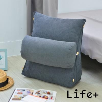 Life Plus 極簡風尚 舒壓萬用棉麻靠枕/抱枕/腰靠枕 (深灰)