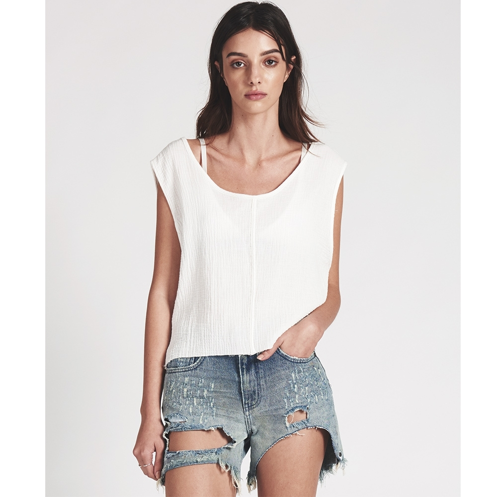 ONETEASPOON UPSIZED CROP 短袖T恤 (白)
