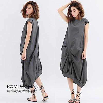 【KOMI】棉麻不規則設計感長洋裝