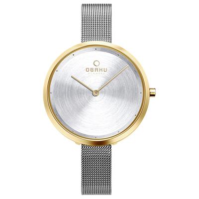 OBAKU 首席極簡主義曲線腕錶-銀X金(V227LXGIMC)/34mm