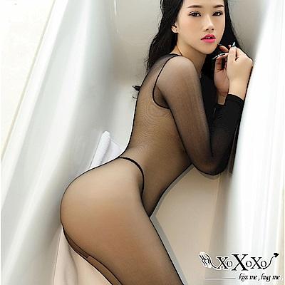 貓裝網衣 透視誘惑長袖開襠連身絲襪 挑逗黑 XOXOXO