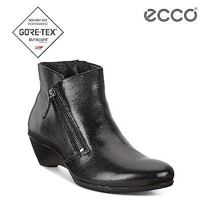 ECCO SCULPTURED 45 W 美感雕塑拉鍊低跟短靴 女-黑