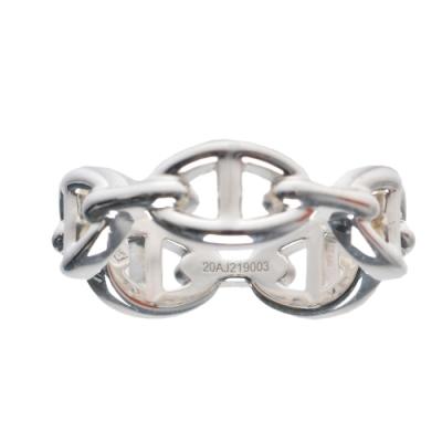 HERMES 經典925純銀LOGO簍空造型戒指