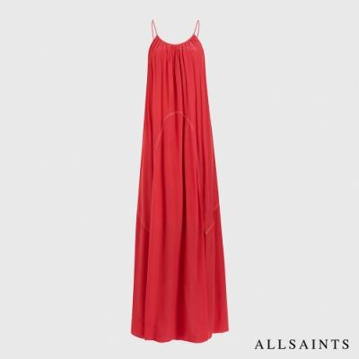 ALLSAINTS AMOR 浪漫迷人輕薄飄逸露背無袖長版連身裙洋裝-玫瑰紅