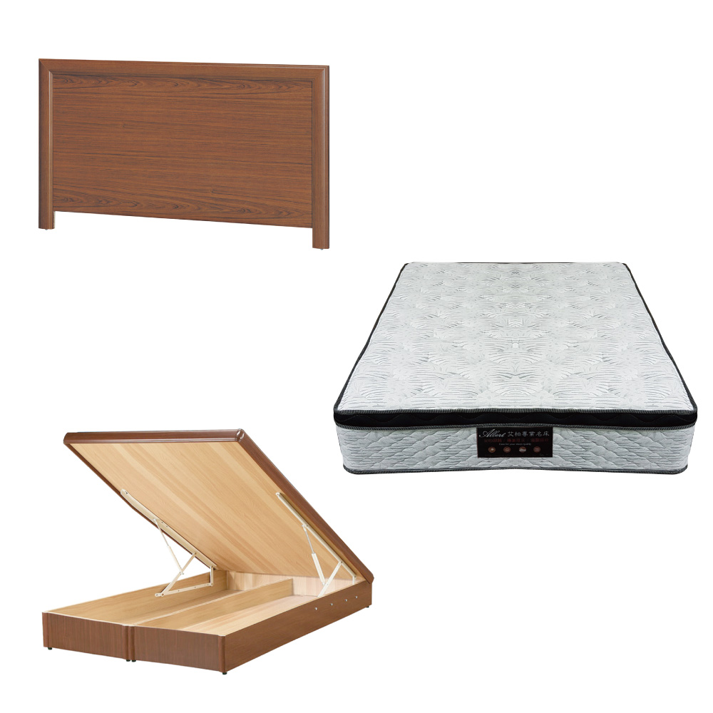 綠活居 羅多6尺雙人加大床台三式組合(床頭片+後掀床底+正三線涼感獨立筒)五色可選