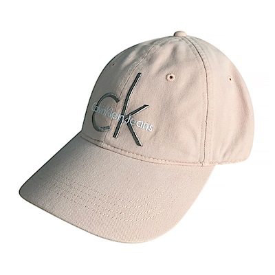 CK Calvin Klein經典刺繡字母LOGO棒球帽(粉膚)
