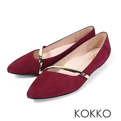 KOKKO - 輕奢女神金屬尖頭楔型真皮鞋-紅