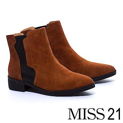 短靴 MISS 21 獨特拼接設計異材質真皮粗跟短靴-咖