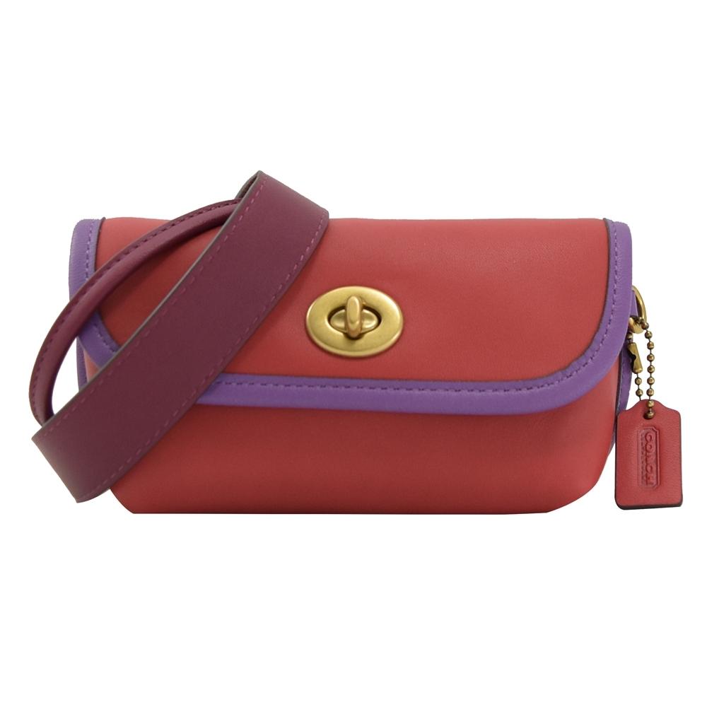 COACH 經典牛皮翻蓋轉鈕扣附斜背腰包/胸口包(紫/紅)