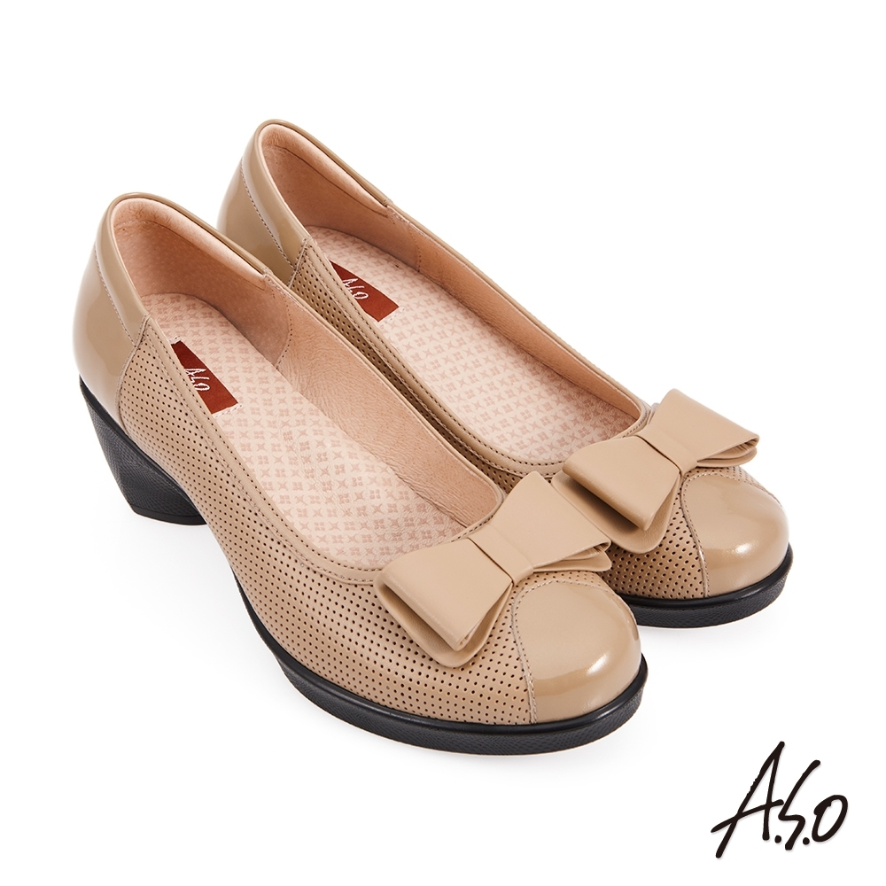 A.S.O 紓壓氣墊蝴蝶結奈米通勤鞋-卡其