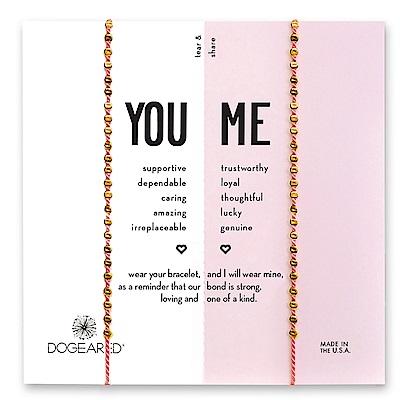 Dogeared You & Me 閃亮金色星辰豆豆手鍊 幸運粉紅線手鍊 對鍊套組