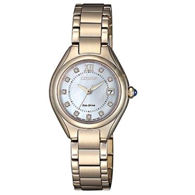 CITIZEN星辰 LADY S施華洛世奇光動能時尚腕錶-玫瑰金(EW2543-85D)