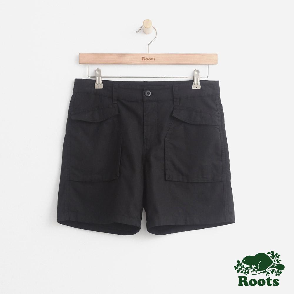 女裝Roots 平織口袋短褲-黑