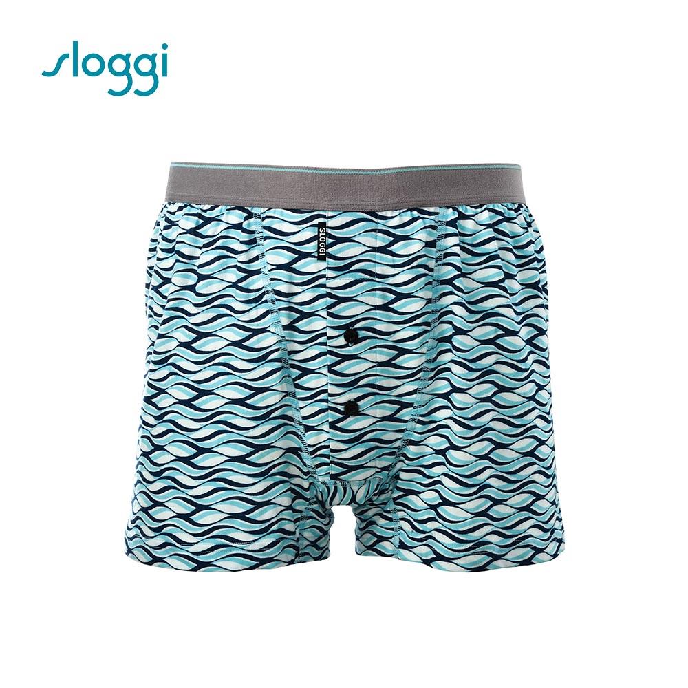 sloggi men 寬鬆系列Surf 針織平口褲 百搭藍