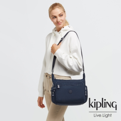 Kipling 經典普魯士藍多袋實用側背包-GABBIE