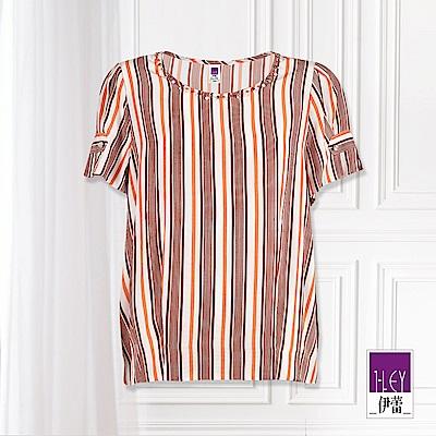 ILEY伊蕾 輕薄涼感造型短袖條紋上衣(黑/桔/藍)