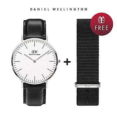 DW 手錶 官方旗艦店 40mm銀框 Classic 爵士黑真皮皮革