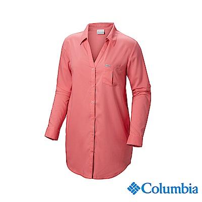 Columbia 哥倫比亞 女款-UPF40防曬長袖襯衫-粉紅 UFL00660PK