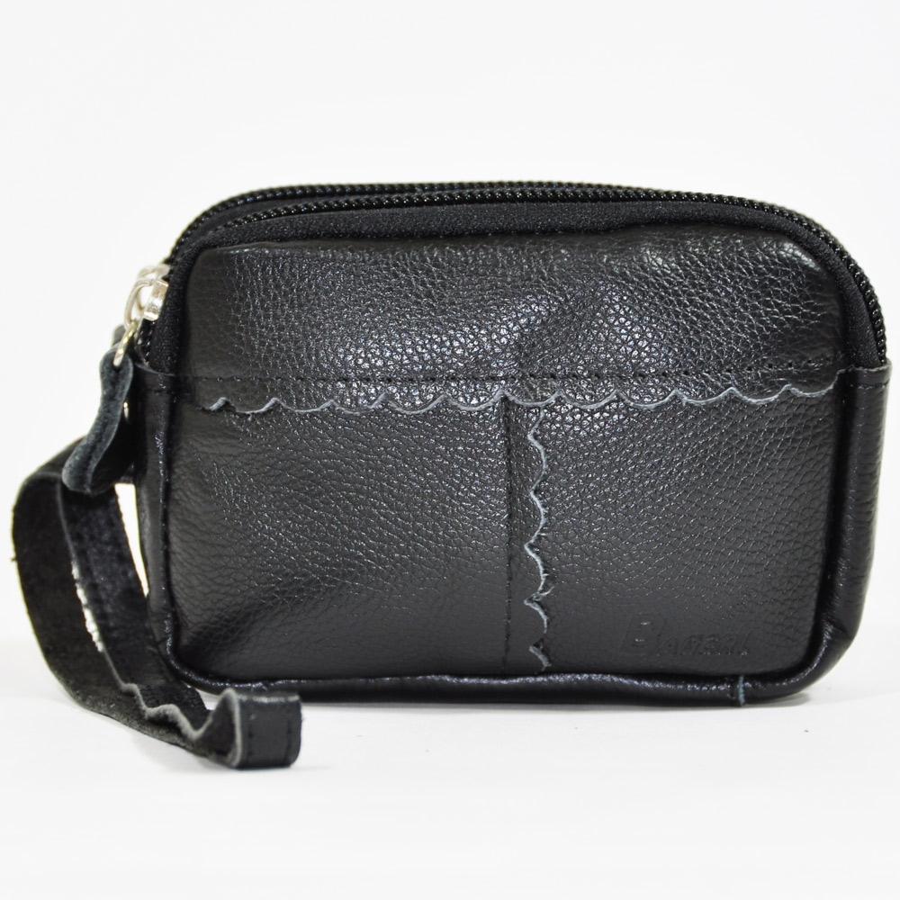 Miyo進口牛皮雙拉零錢手拿包(黑色)