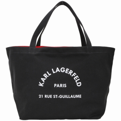 KARL LAGERFELD Rue St Guillaume 住址系列帆布托特包(黑色)