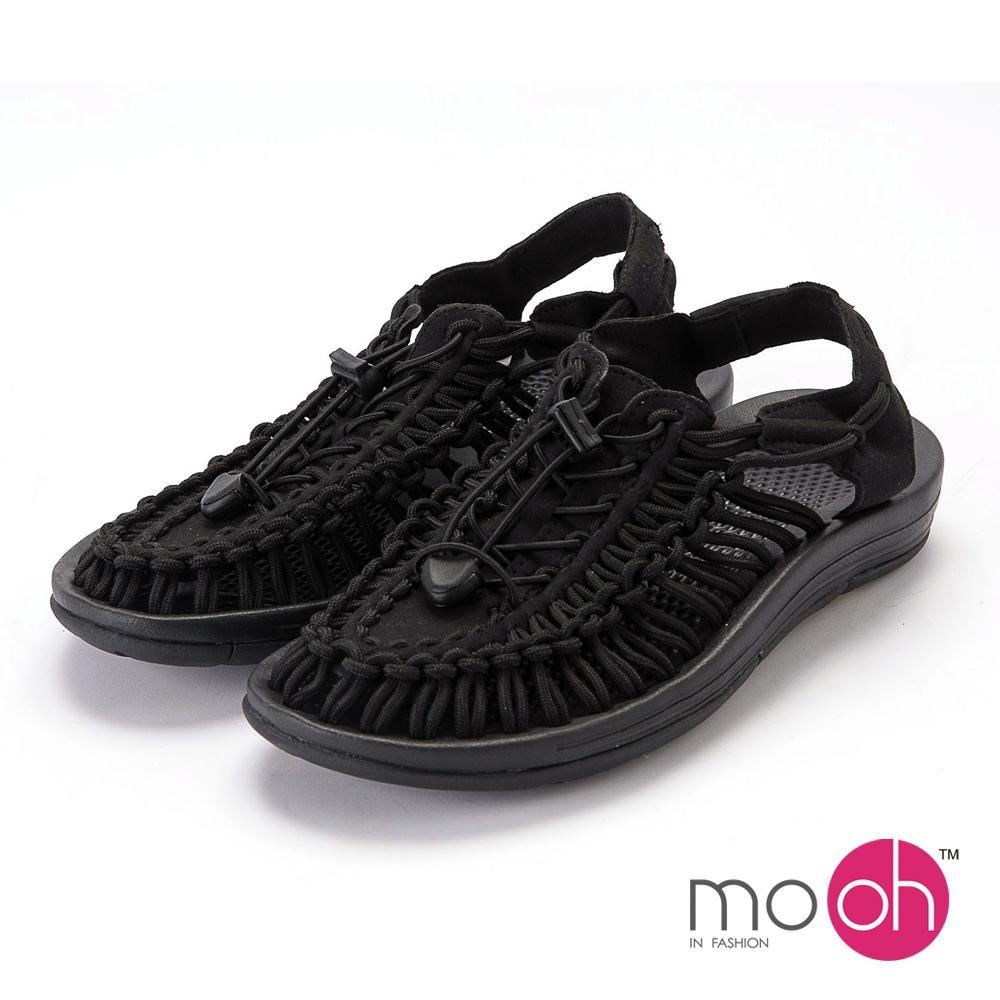 mo.oh-情侶款編織沙灘羅馬包頭涼鞋-黑色