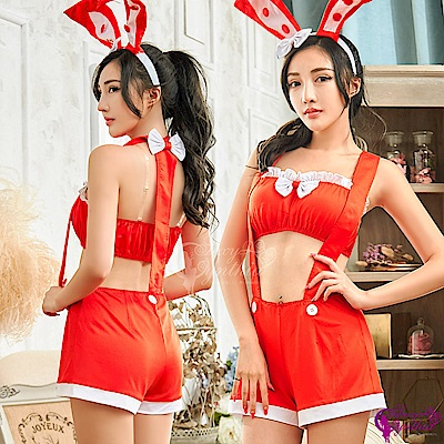 Sexy Cynthia 角色扮演 俏麗火紅兔女郎角色扮演服四件組- 紅F