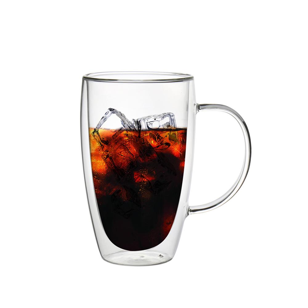 FUSHIMA富島 經典系列雙層耐熱玻璃杯460ML(把手)